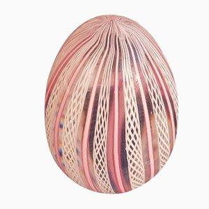 Italian Murano Glass Pink & White Ribbon Paper Weight, 1950s