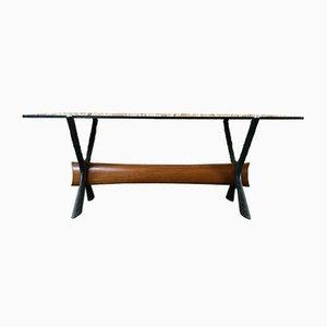 Table Basse en Verre et Teck, 1970s