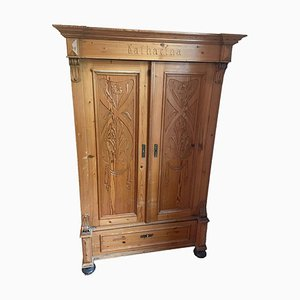 Softwood Cabinet with Floral Carvings