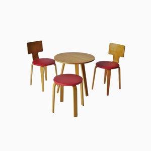Tavolo, sedie e sgabello modello 519 di Cor Alons per de Boer, anni '50