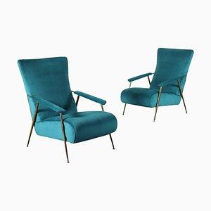 Sessel aus Messing, Schaumstoff & Samt, Italien, 1950er, 2er Set