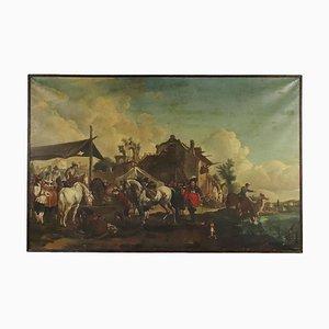 Paesaggio con cavallo, olio su tela