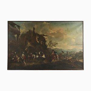 Paesaggio con figure e cavalieri, olio su tela