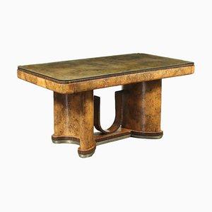 Wurzelholz Furnier, Metall und Glas Tisch, 1920er