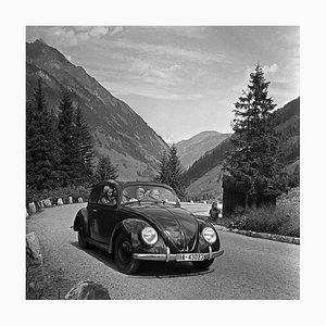 Exploring the Countryside in a Volkswagen Beetle, Germany 1939, Printed 2021