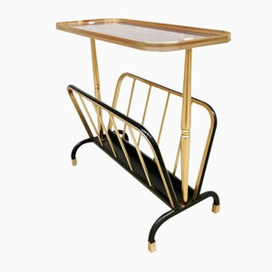 Vintage Brass Side Table or Magazine Rack from MB Italy