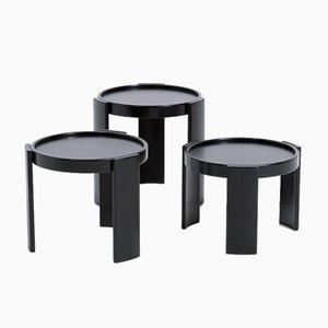 Black Nesting Tables by Gianfranco Frattini for Cassina, Set of 3