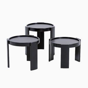 Tables Gigognes Noires par Gianfranco Frattini pour Cassina, Set de 3