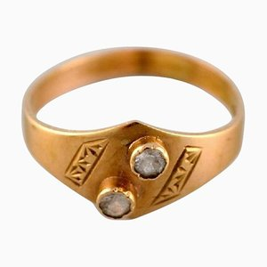 Vintage Swedish Modernist Ring in 18 Carat Gold with Semi-Precious Stones