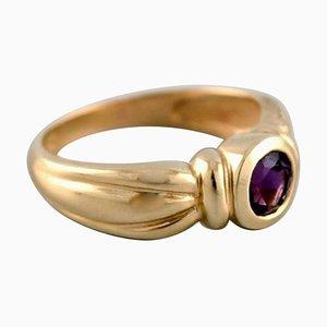 Vintage Ring aus 14 Karat Gold mit Amethyst von Hermann Siersbøl, Dänemark
