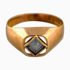 Moderner schwedischer Vintage Ring aus 18 Karat Gold mit Halbedelstein