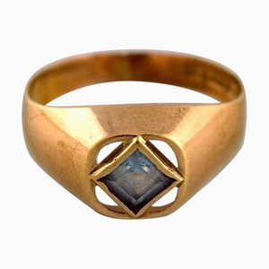 Vintage Swedish Modernist Ring in 18 Carat Gold with Semi-Precious Stone