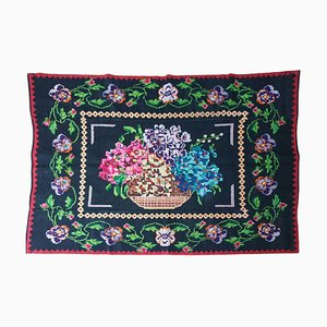Vintage Wool Rug with Multicolored Floral Design