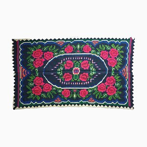 Handwoven Green and Fuchsia Floral Rug in Wool