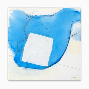 Blue White Line, Abstract Painting, 2014