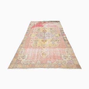 Antiker handgefertigter türkischer Oushak Teppich aus pastellfarbener Wolle