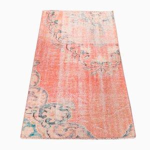 Handgeknüpfter türkischer Vintage Oushak Teppich aus rosa Wolle