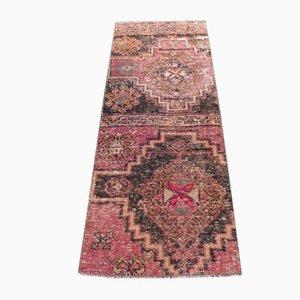Small Vintage Turkish Handmade Oushak Rug or Doormat in Pink Wool