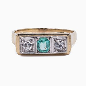 Vintage 14K Gold Ring with Synthetic Emerald and Diamonds, 1980s
