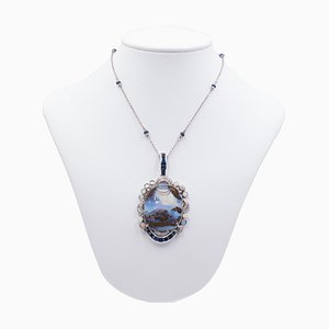 Vintage Pendant in 18K White Gold with Opal, Diamonds & Sapphires, 1940s