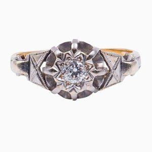 Vintage Ring in 18K Gold and Platinum with a Central 0.15ct Diamond, 1940s