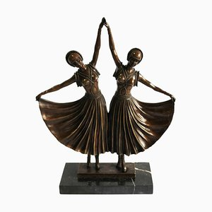 Ballerine in stile Art Déco in bronzo, XX secolo