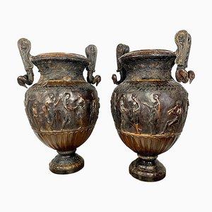 Neoclassical Roman Style Cast Bronze Urns, Set of 2