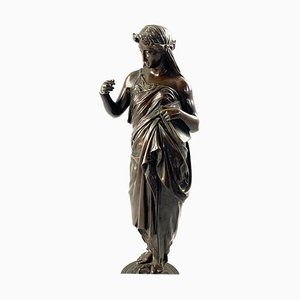 19th Century Bronze of a Women Draped in Robes on a Circular Zodiac Base