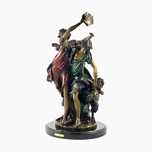 Große französische Tanzfiguren aus Bronze mit Tamburin, 20. Jh