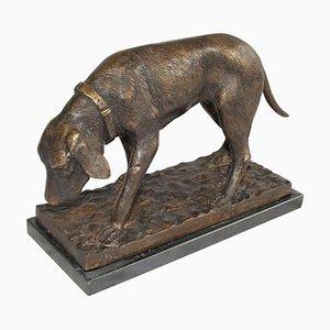 20th-Century French Dark Brown Bronze Dog Sculpture