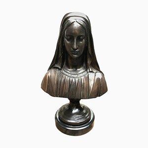 Buste de la Vierge Marie en Bronze, France, 20ème Siècle