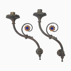 Candelabri gotici in ottone di Hardman, set di 2