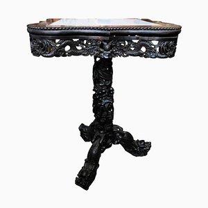 Centre de Table en Bois Sculpté avec Plateau en Marbre, Chine, 19ème Siècle