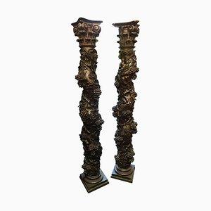 Colonne in legno intagliato a mano, XVIII secolo, set di 2