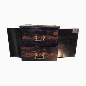 English Gothic Style Brass-Bound Two-Drawer Cigar Box in Macassar Ebony