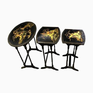 Chinoiserie Carved Nesting Tables, Set of 3
