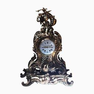 Horloge de Cheminée en Or Moulu, France, 19ème Siècle