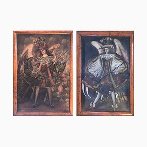 19th Century, Oil on Canvas, Two Winged Arc Angels, Set of 2