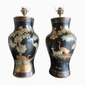 Chinoiserie Tischlampen aus Pappmaché, 2er Set