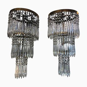 Early 20th Century Articulated Crystal Wall Sconces, Set of 2