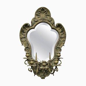 19th Century Gilt Brass Mirror with Five Branch Candelabra
