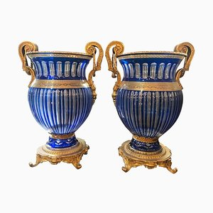 20th Century Bohemian Crystal Urns in Blue, Set of 2