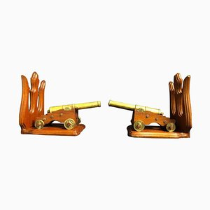 Bronze Cannons with Mahogany Stands, 19th Century, Set of 2