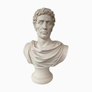 Julius Caesar Bust Sculpture, In Toga, 20th-Century
