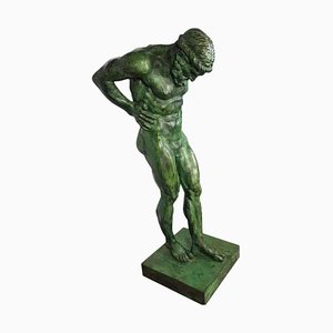 Grande Statue d'Atlas en Bronze, 20ème Siècle
