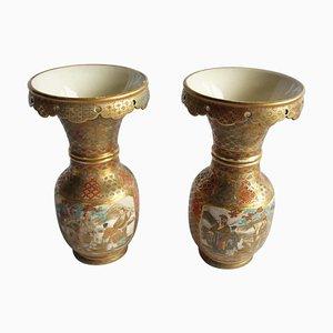 Vases en Céramique avec Motif Géométrique, Période Meiji, Japon, 19ème Siècle, Set de 2