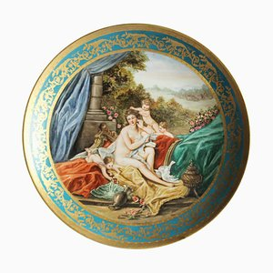 Grand Plat ou Plaque Murale Viennois du 20ème Siècle en Porcelaine avec Bordures Dorées