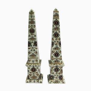 20th Century Italian Obelisks in Hand-Painted Porcelain, Set of 2