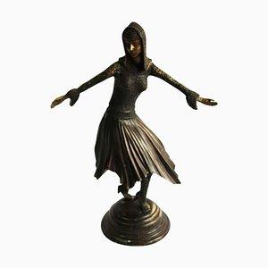 Figurine Style Art Déco en Bronze par Demétre Haralamb Chiparus, 20ème Siècle