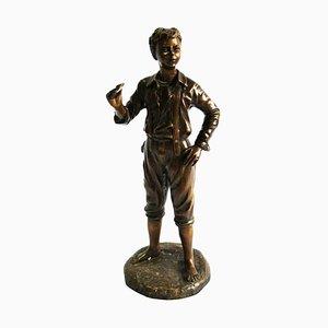 Figure d'un Garçon en Bronze, France, 20ème Siècle